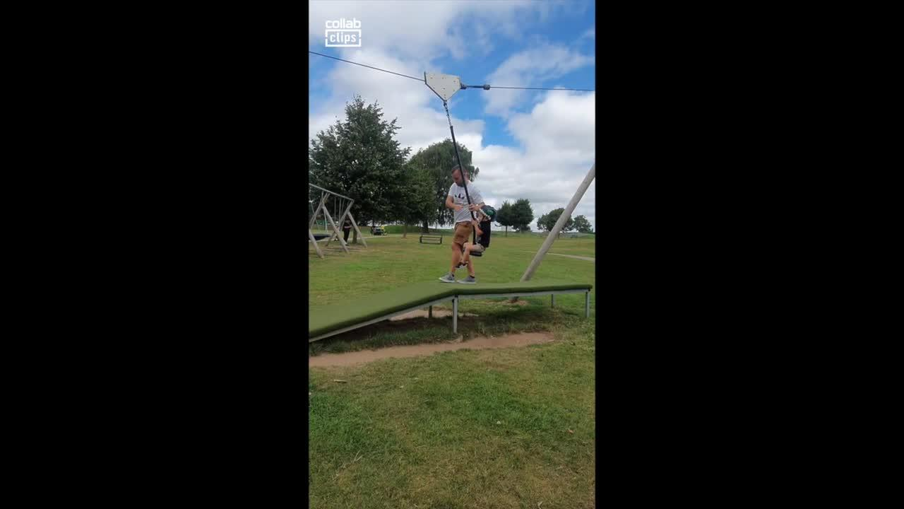 Dad's zipline snafu causes son to fall and cry