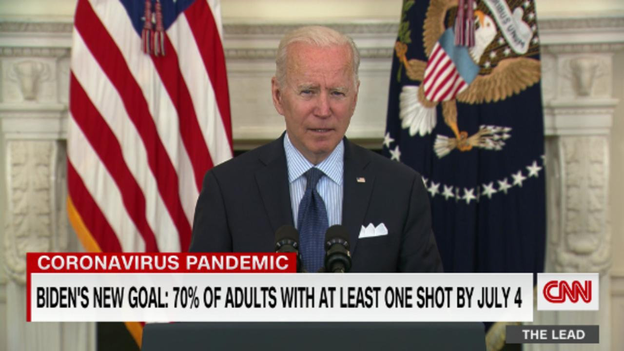 President Biden sets a new goal: 70% of adults with at least one coronavirus shot by July 4