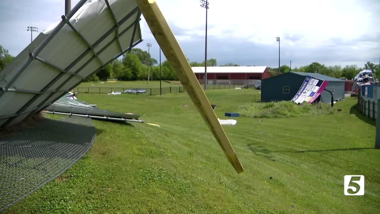 Strong winds damage Wilson Central baseball field