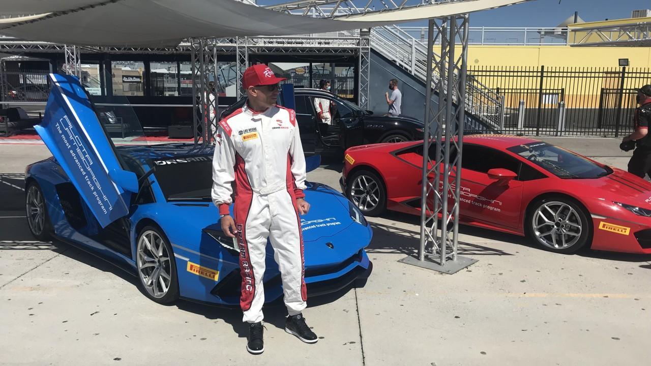 UNLV coaches burn rubber at Las Vegas Motor Speedway in Rebel Caravan event