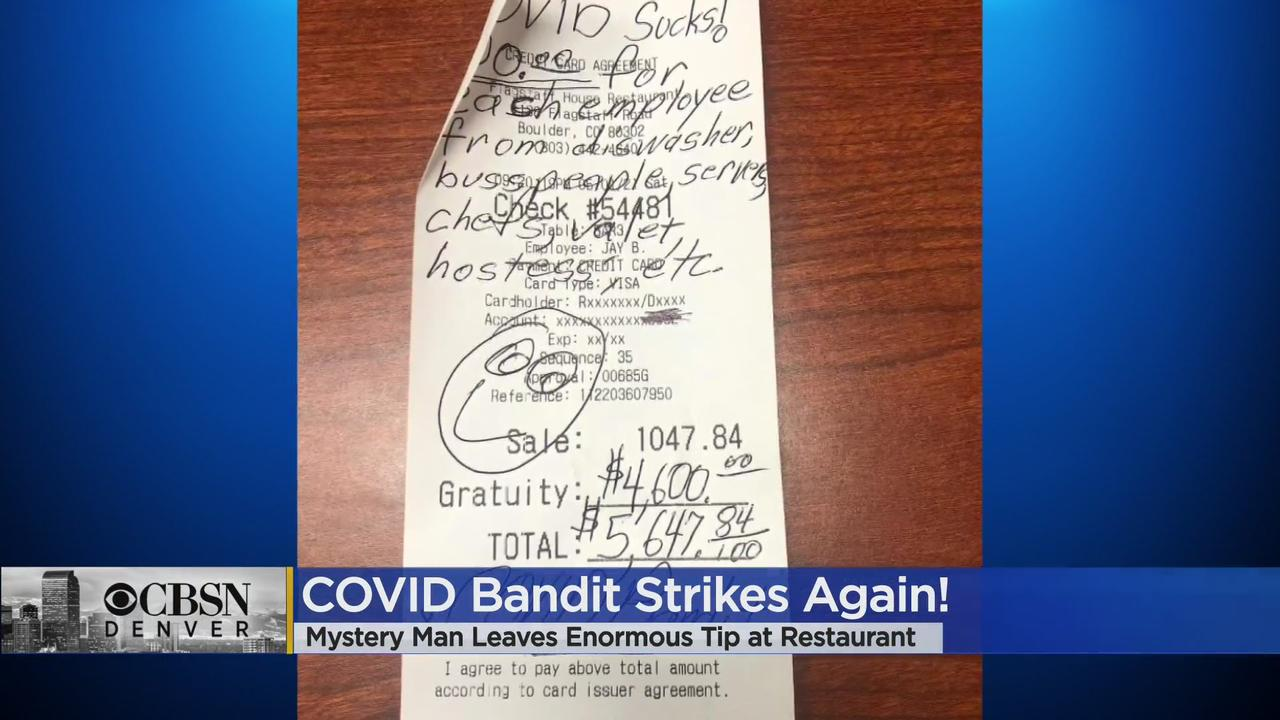 'COVID Bandit' Strikes Again, Gives $4,600 Tip At Flagstaff House Restaurant In Boulder