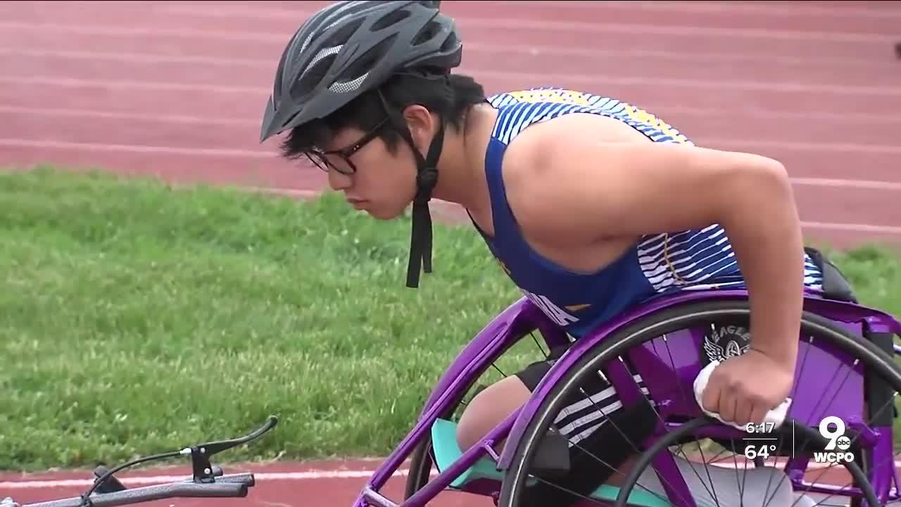 Maderia three-sport athlete Jamie Stanford competes using wheelchair