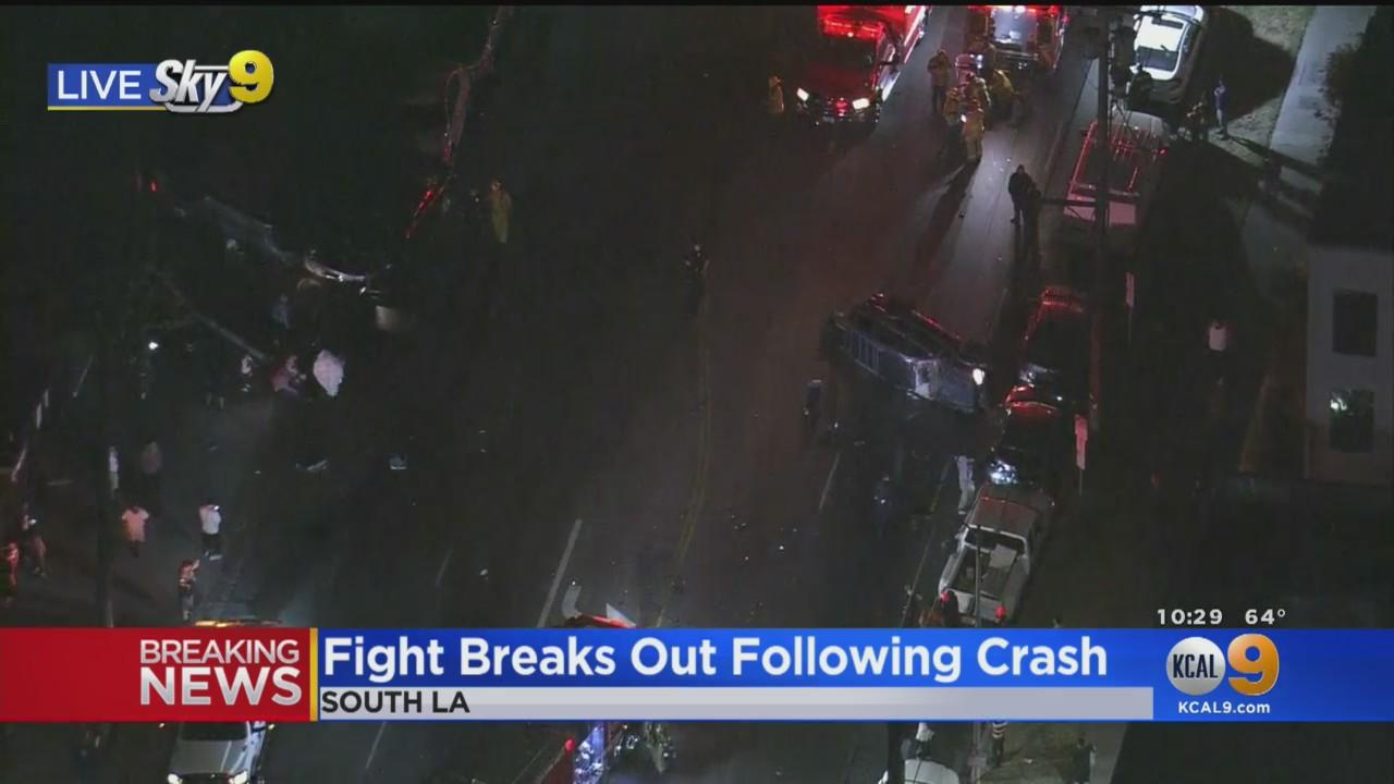 Fight Breaks Out After Multi-Vehicle Crash In South LA