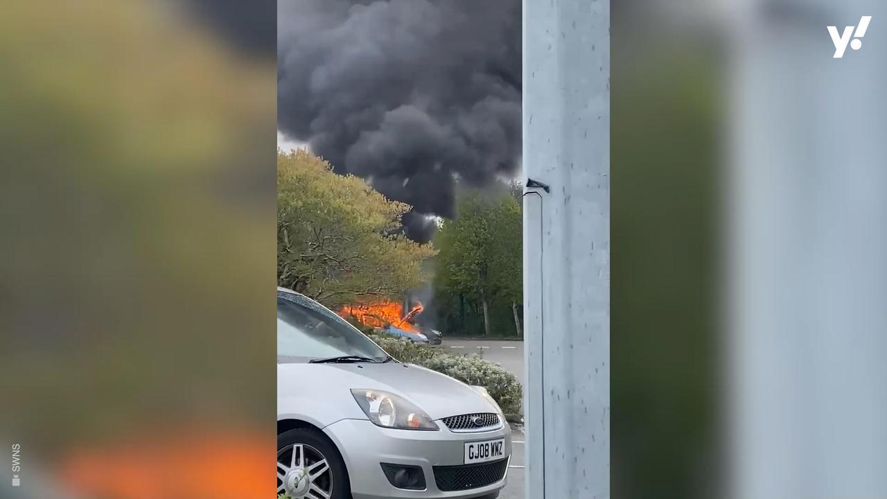 Shopper's car goes up in flames at Tesco car park