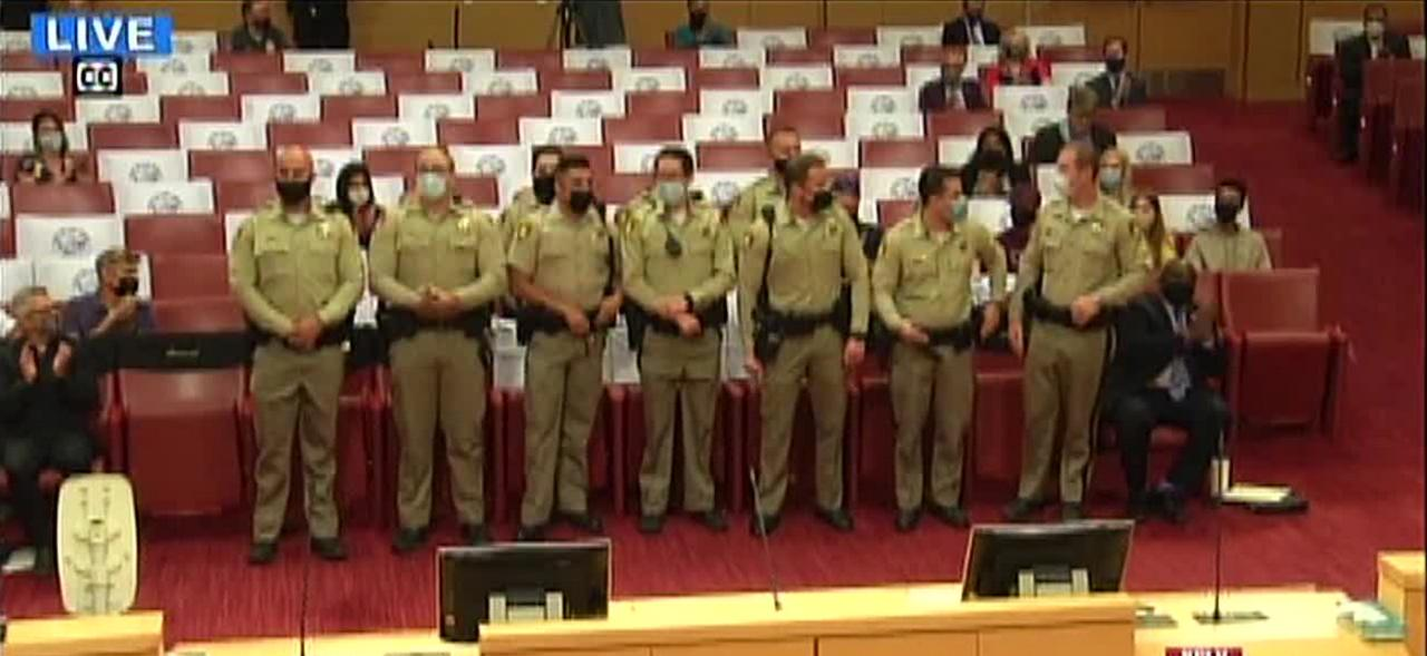 Injured Vegas officer Shay Mikalonis honored bu city council