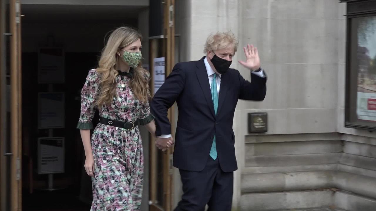 Boris Johnson casts vote on Super Thursday alongside Carrie Symonds