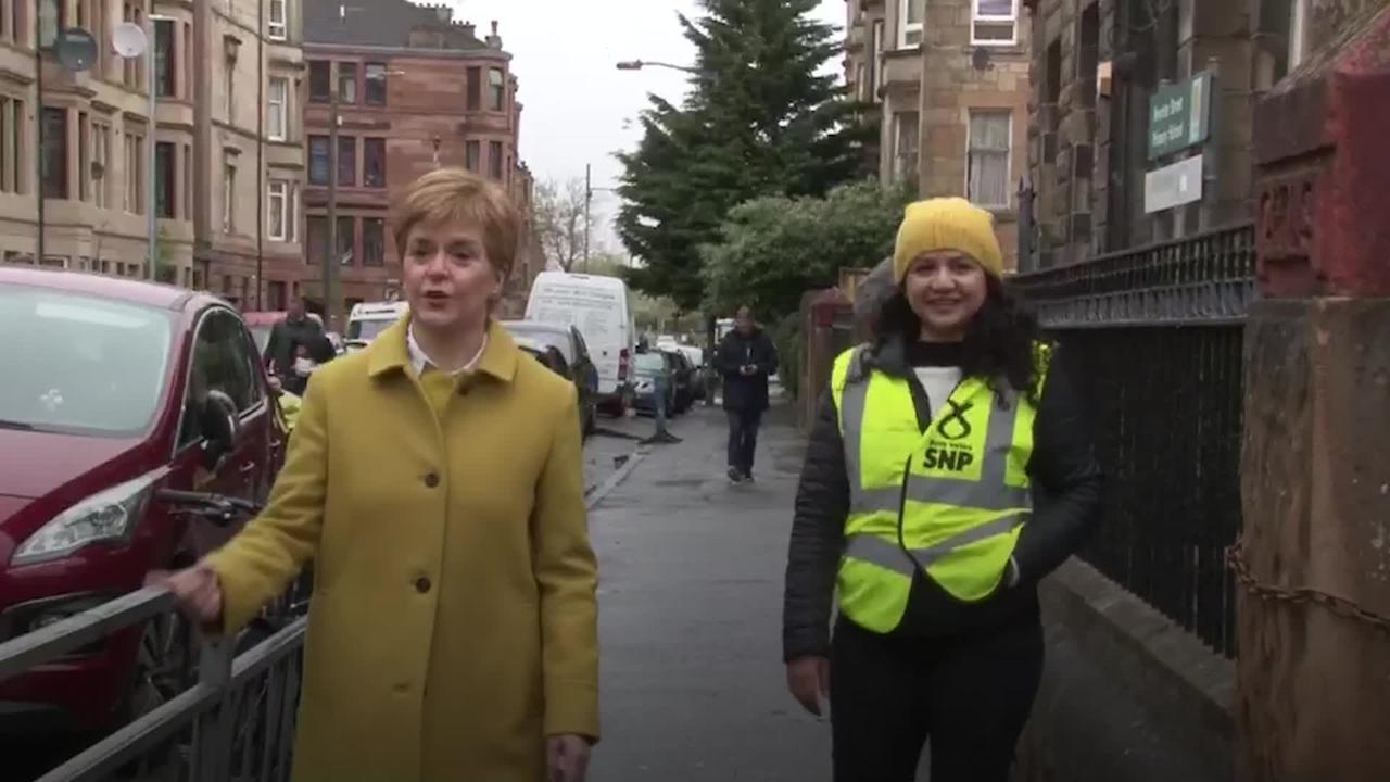 SNP leader Nicola Sturgeon visits polling station