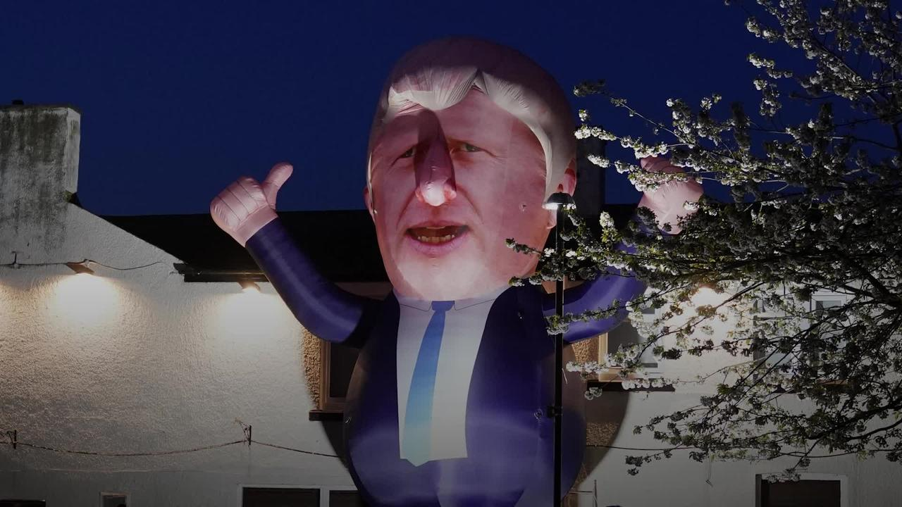 Inflatable Boris Johnson blown up near Hartlepool by-election count