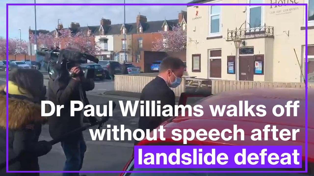Hartlepool Labour candidate Dr Paul Williams walks off without speech after landslide defeat