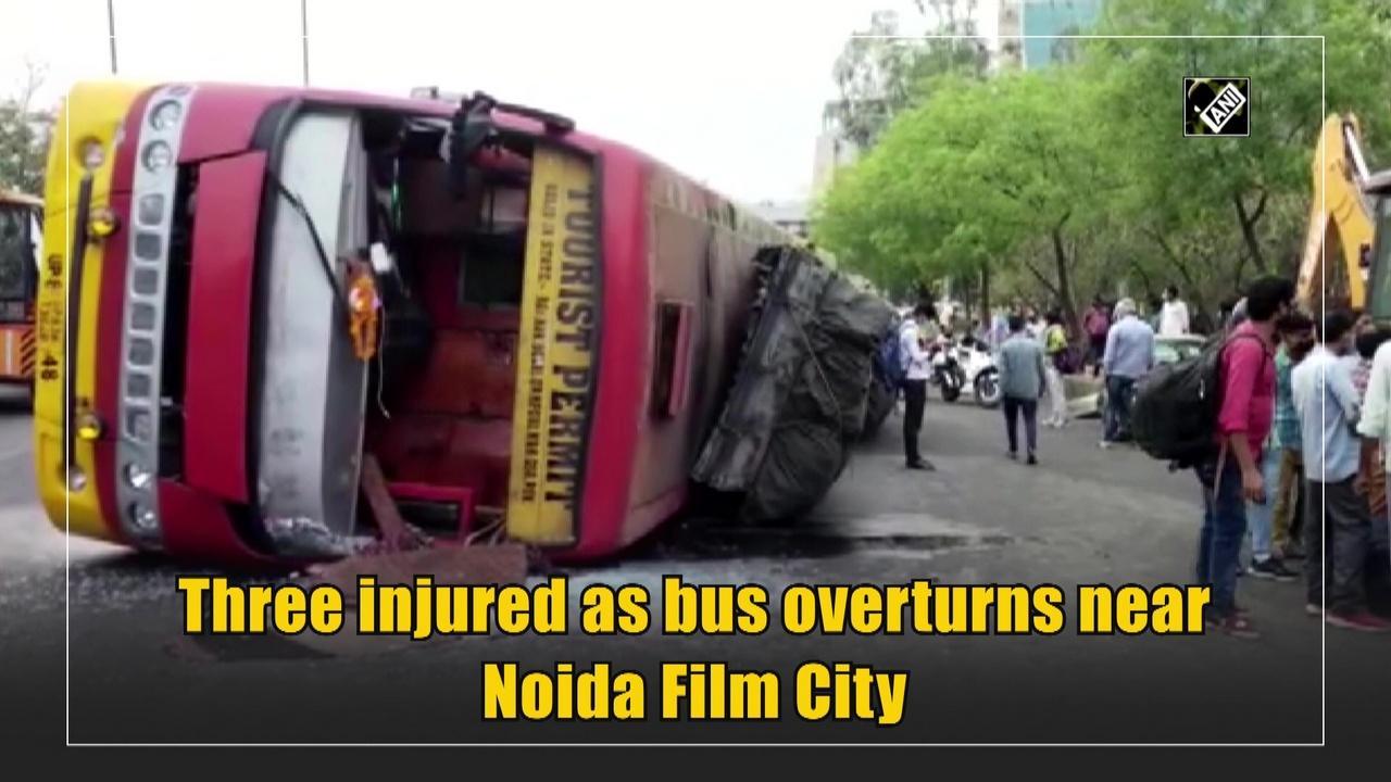 Three injured as bus overturns near Noida Film City