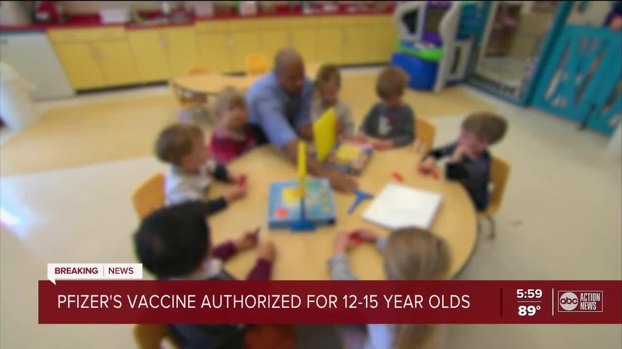 Pfizer's vaccine authorized for 12-15 year olds
