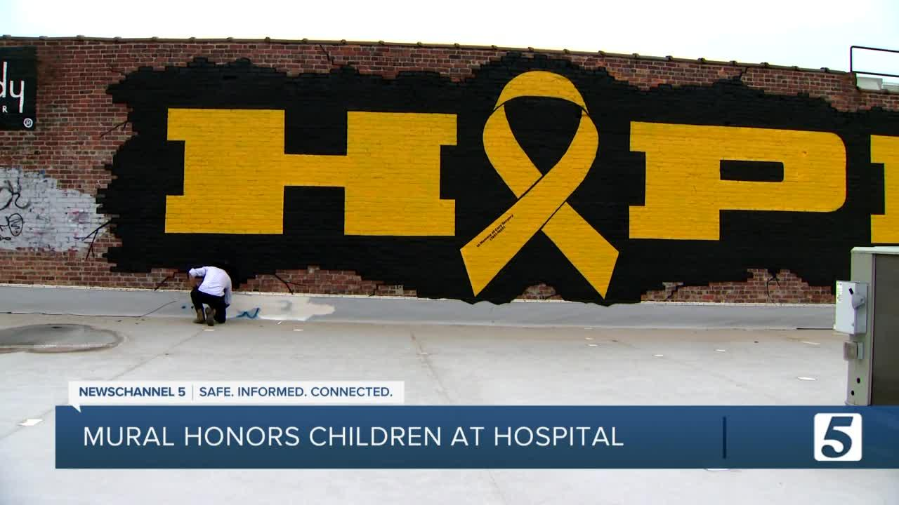 'You are not by yourself.' Mural spelling out HOPE created for Vanderbilt Children's Hospital