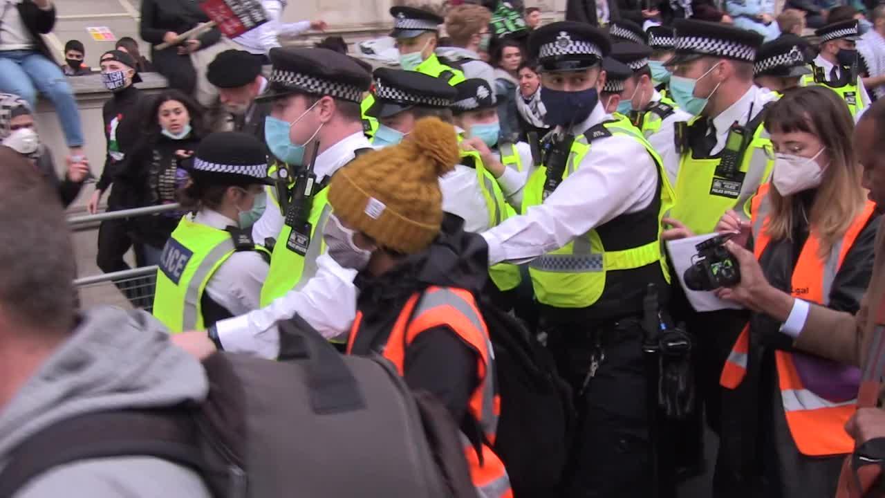 Pro-Palestine protester arrested at demonstration against Israel in central London