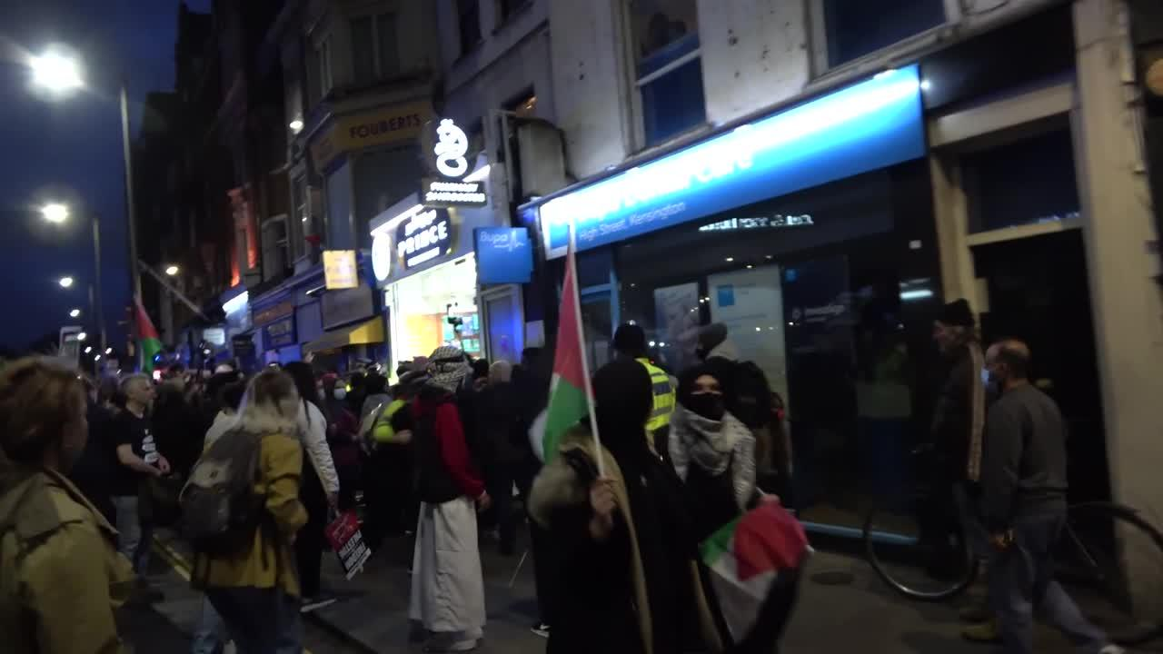 Protesters clash with police during a Pro-Palestine protest in London