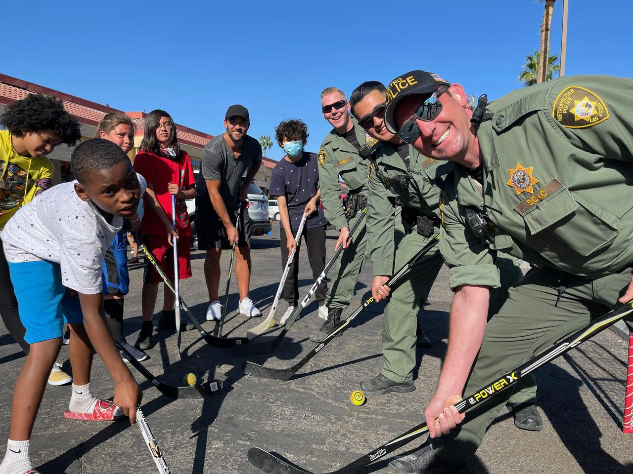 Retired Vegas Golden Knights player Deryk Engelland joined kids' street hockey game