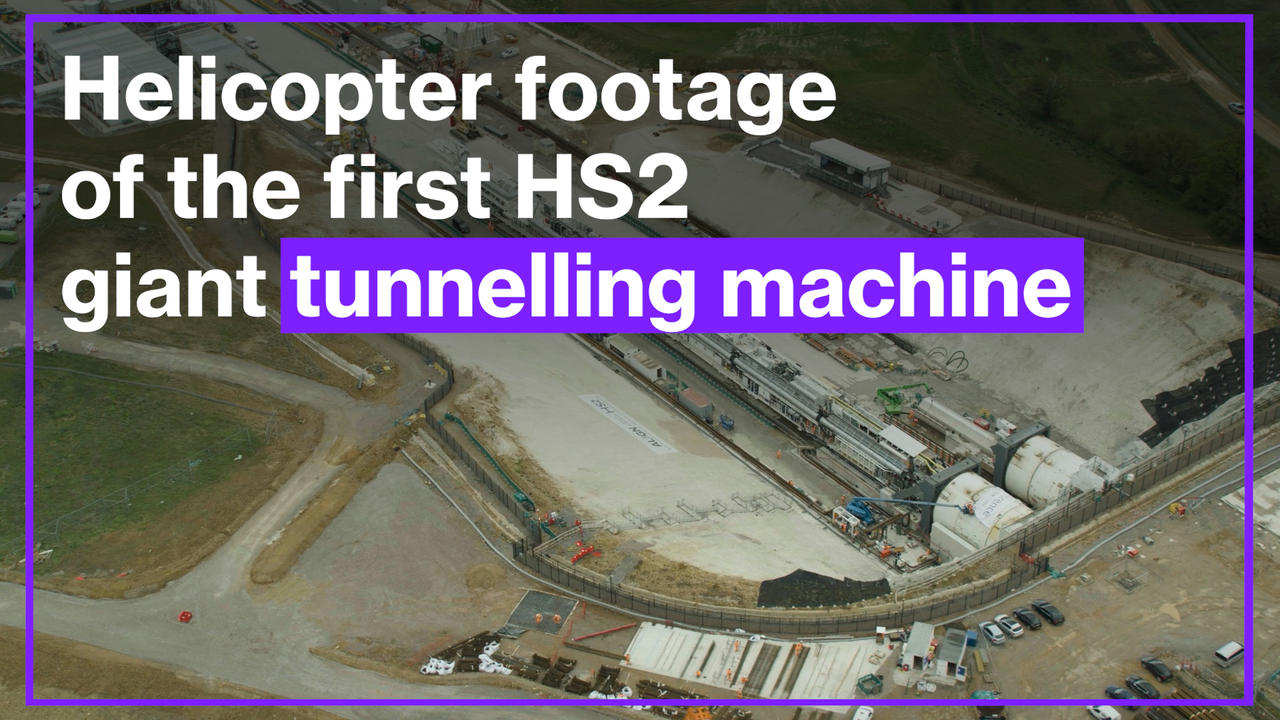 Helicopter footage shows the first HS2 giant tunnelling machine