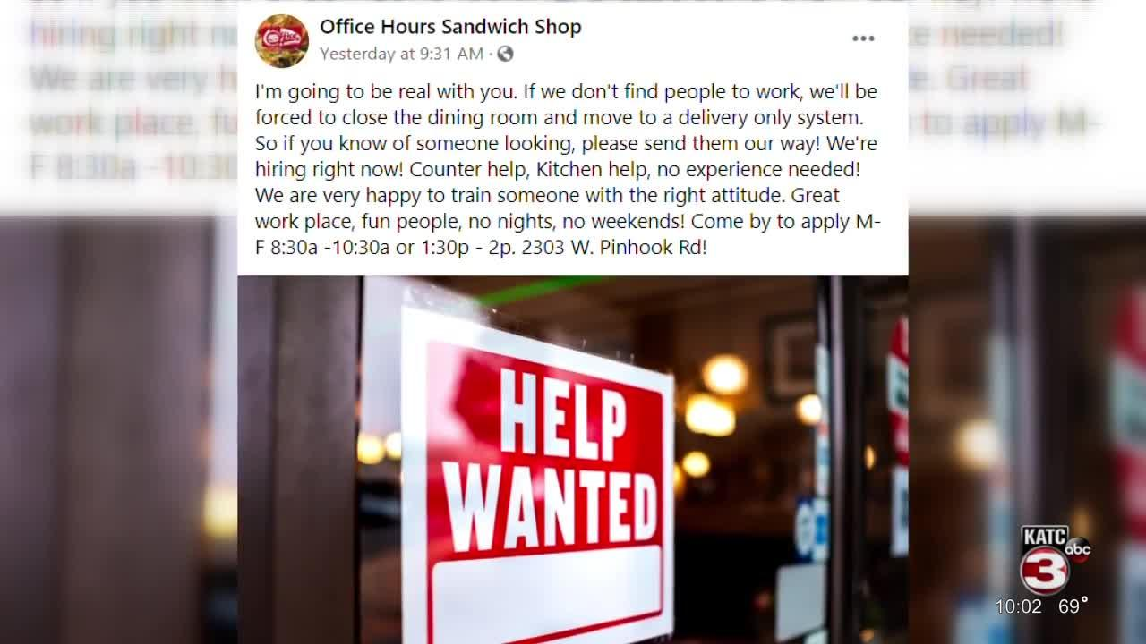 Restaurant sees staffing shortage post-pandemic