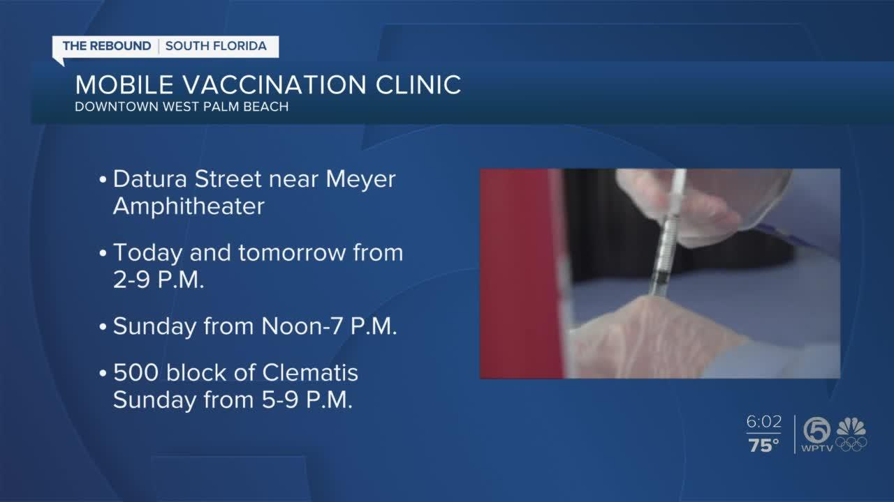 Health Care District mobile vaccination clinic in downtown West Palm Beach