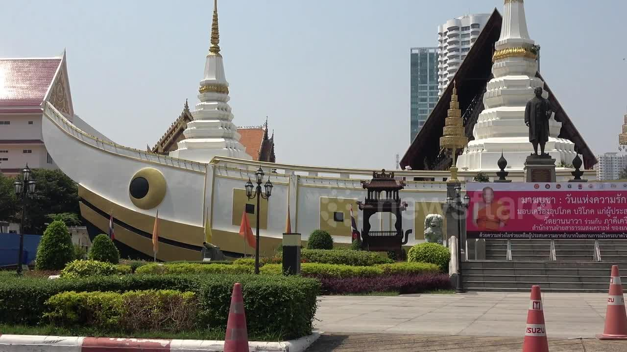 Bizarre Buddhist temple shaped like a giant boat in Thailand
