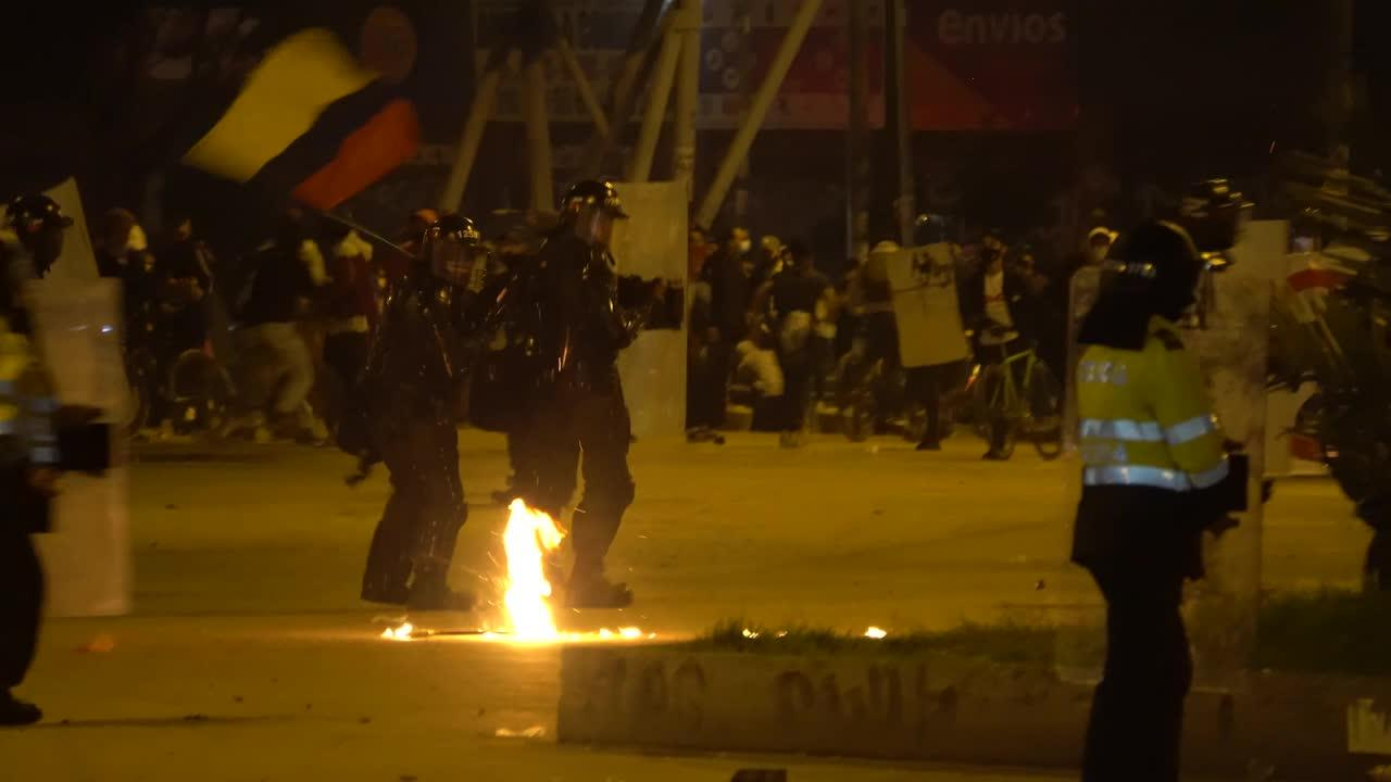 Clashes between police and protesters in Bogota, Colombia