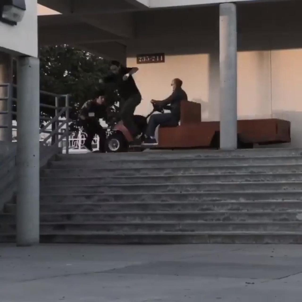Cameraman on Skateboard Gets Hit By Cart While Filming His Roommate