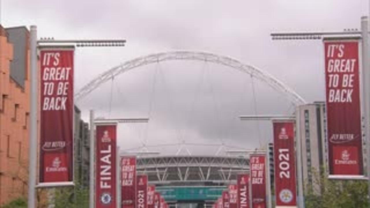 Fans arrive at Wembley ahead of FA Cup final