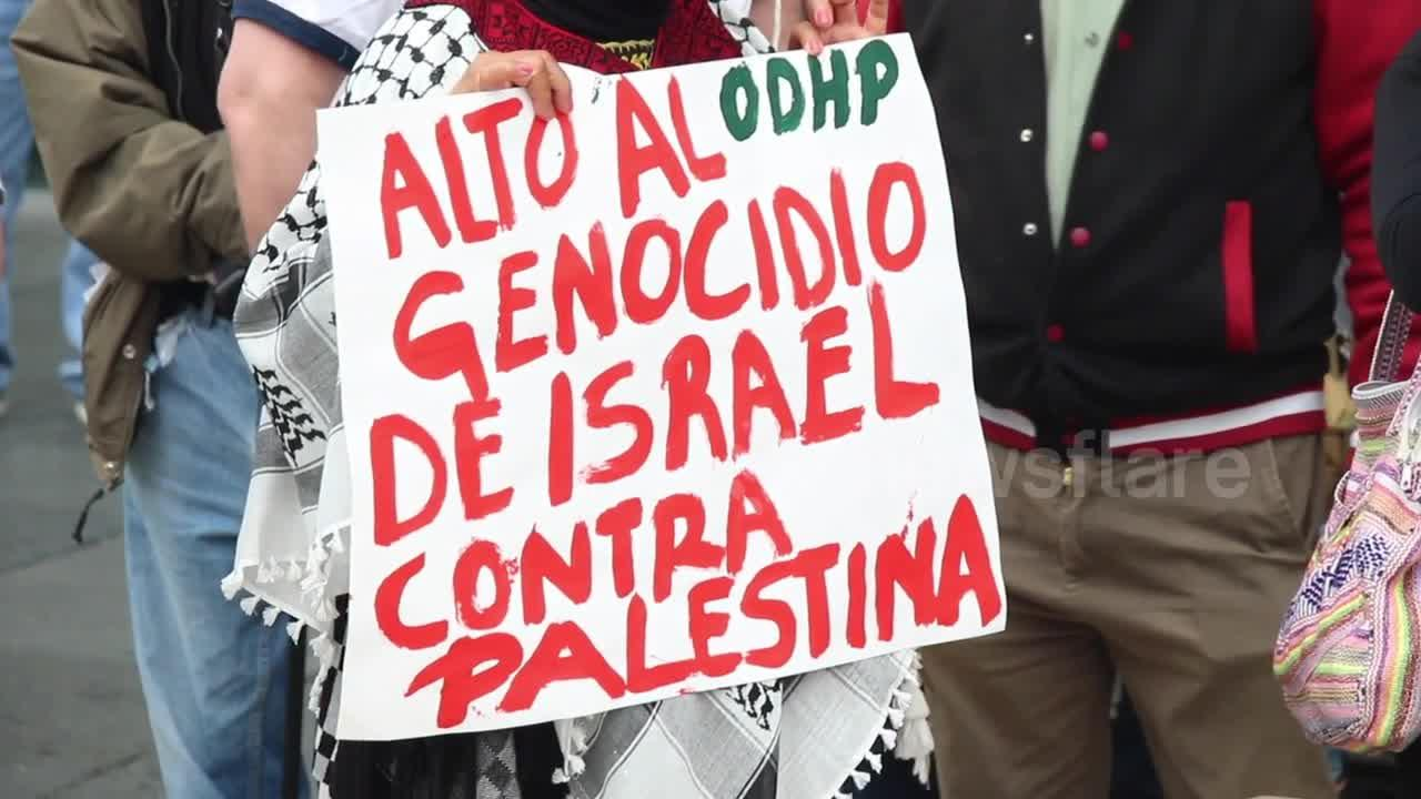 Free Palestine protest held in Mexico City on Saturday
