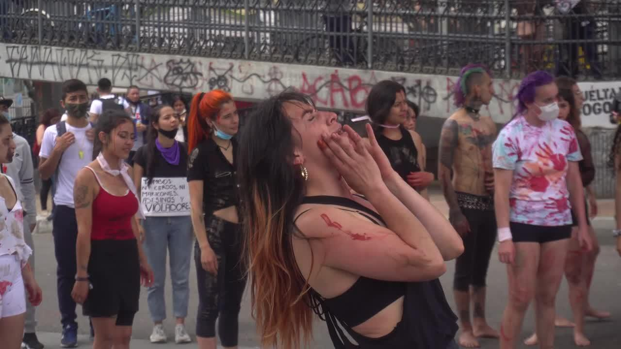 Artists join mass anti-government protest in Bogota, Colombia