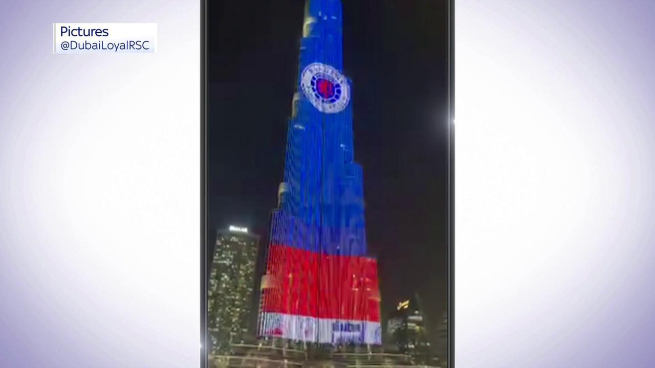 Burj Khalifa lit up to celebrate Rangers title win