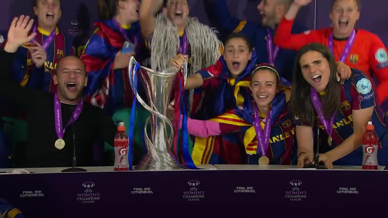 Barcelona players crash press conference after Champions League win