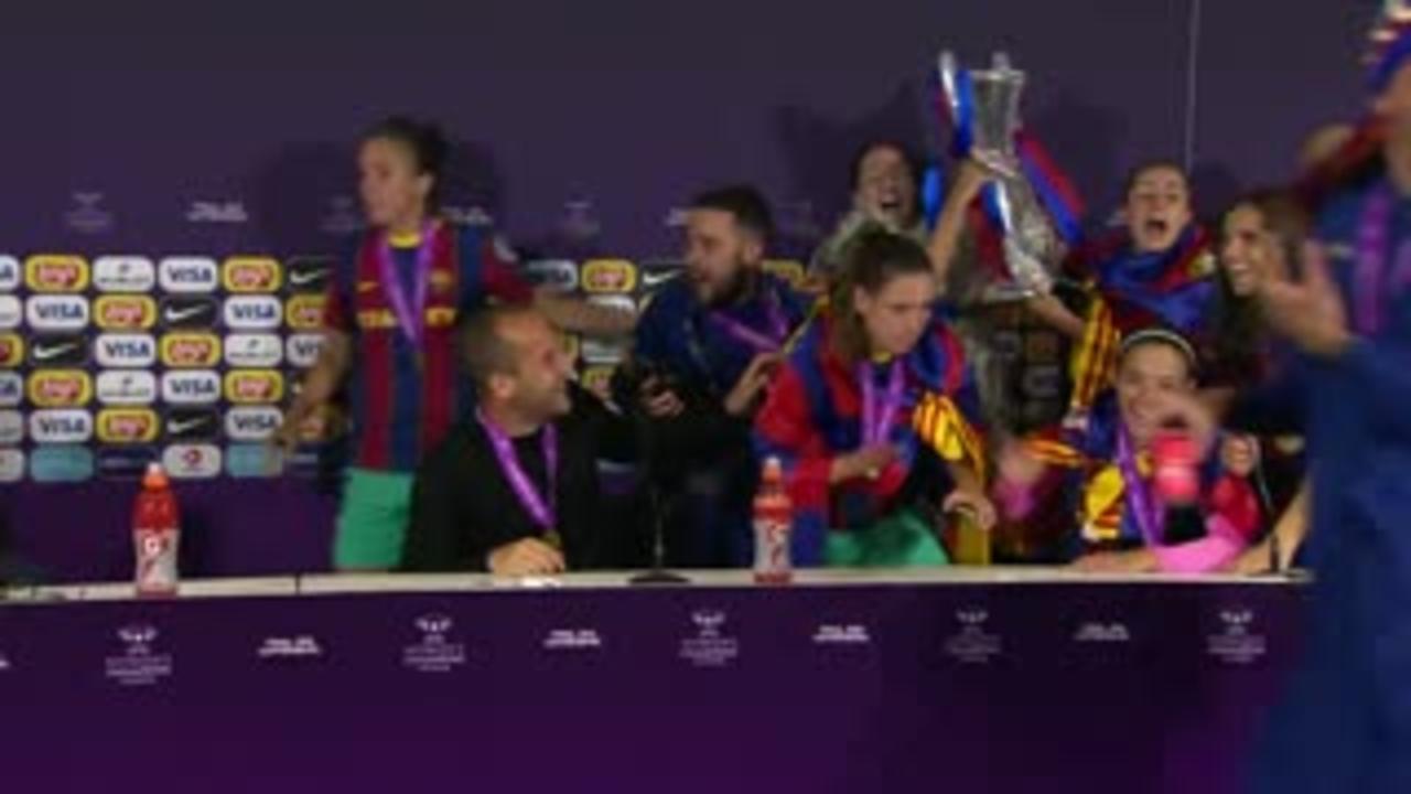 Barca gatecrash press conference after CL win