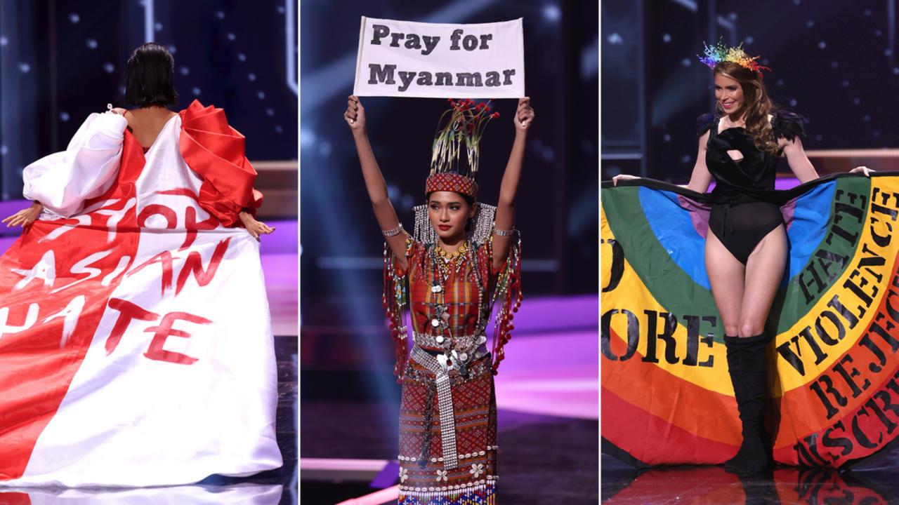 Miss Universe contestants unveil political messages during pageant