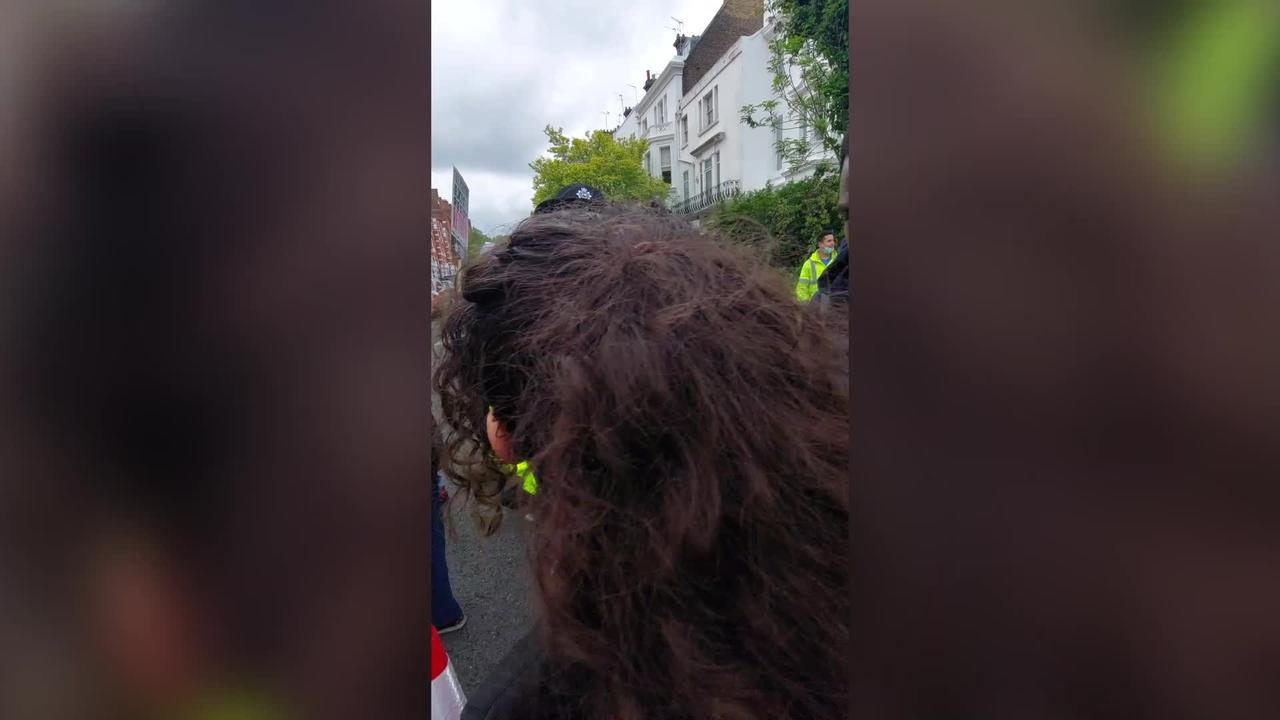Footage shows moment police officer yells 'Free Palestine' in London protest