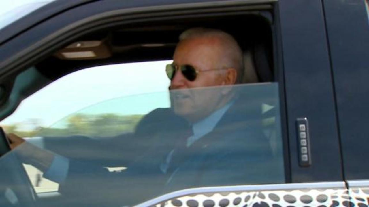See Biden floor it in electric Ford pickup truck