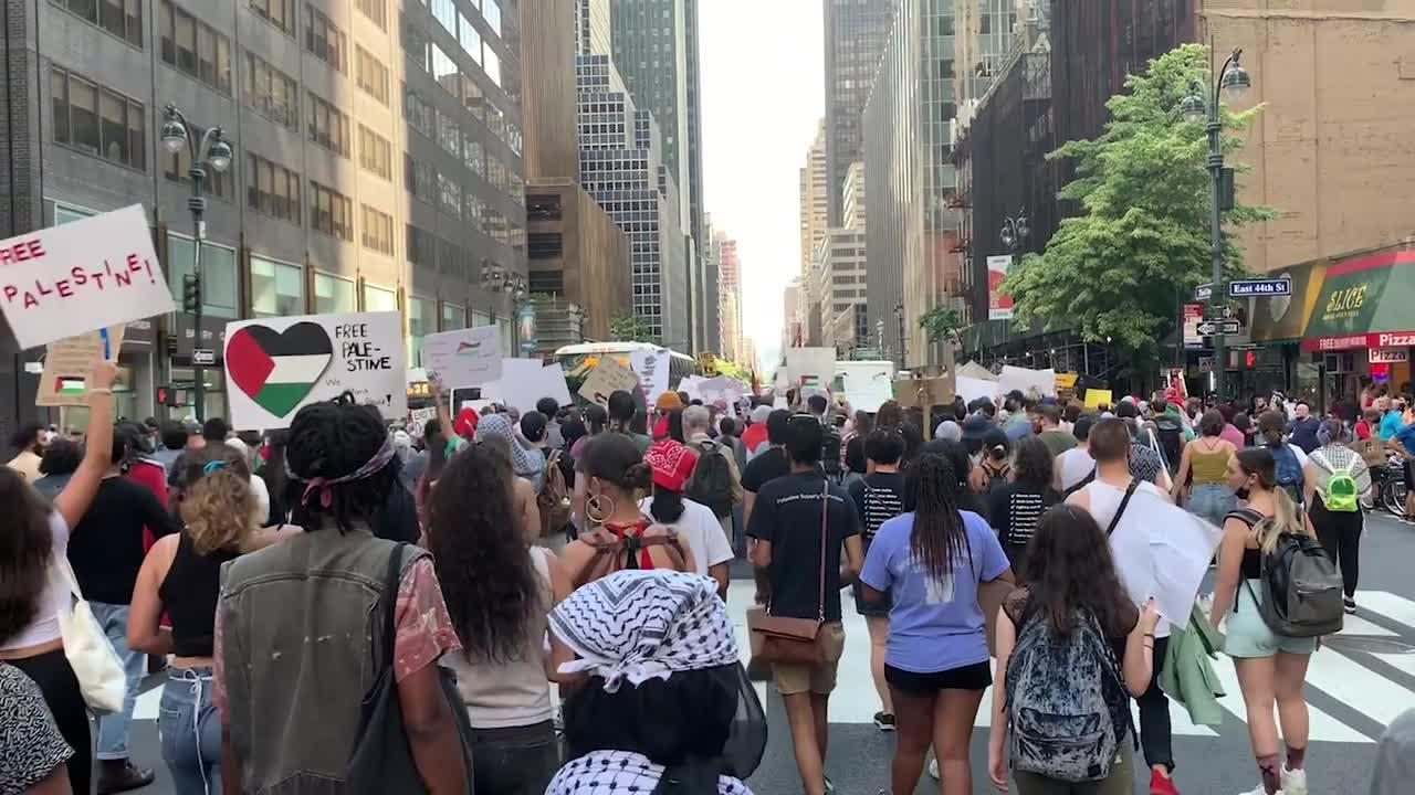 'Free Palestine' march takes place in Manhattan, New York