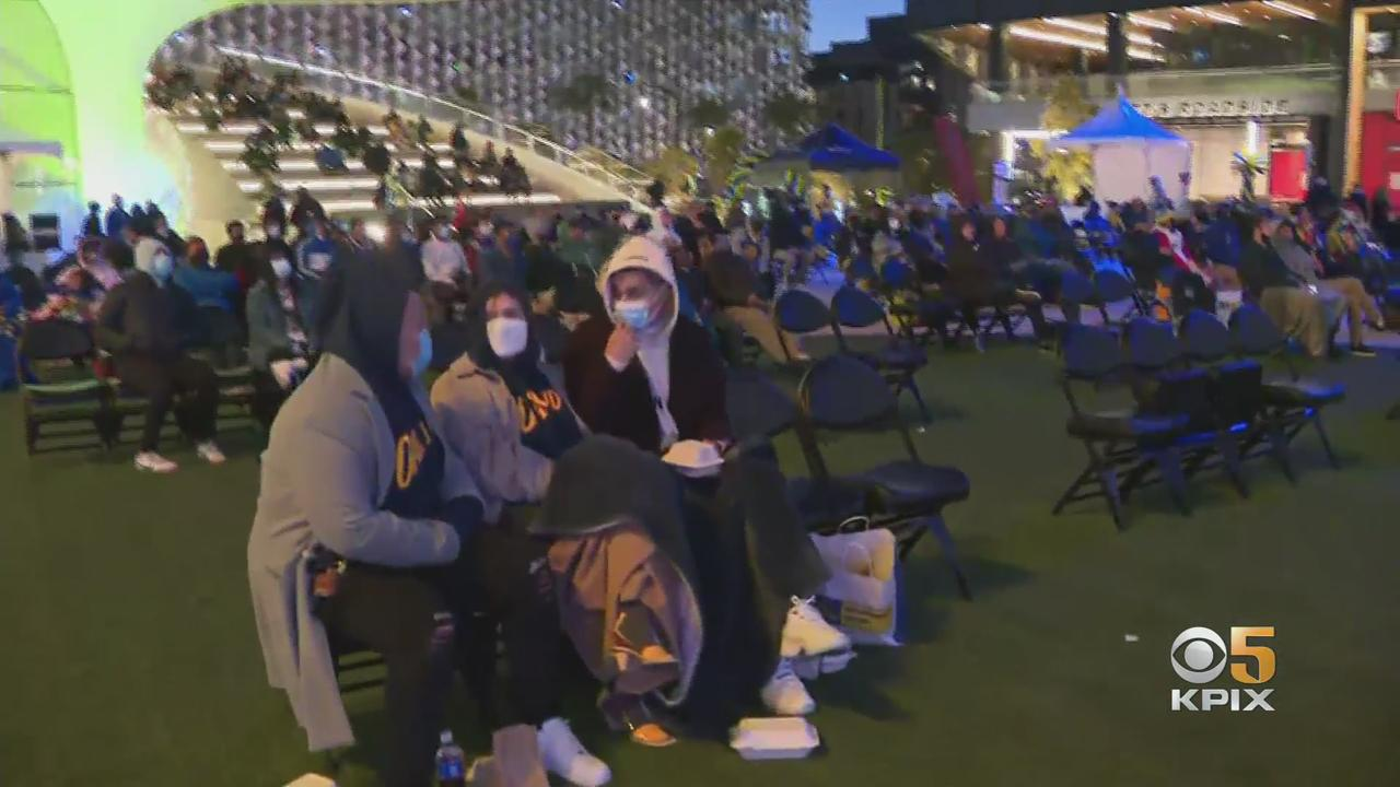 Warriors Hold Viewing Party Outside Chase Center For Play-In Matchup Vs. Lakers