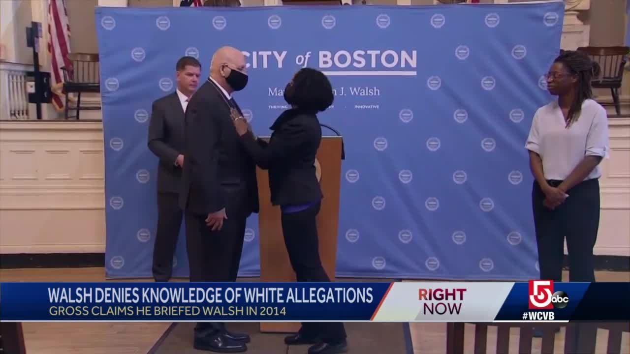 Former Mayor Marty Walsh denies knowledge of allegations against police commissioner