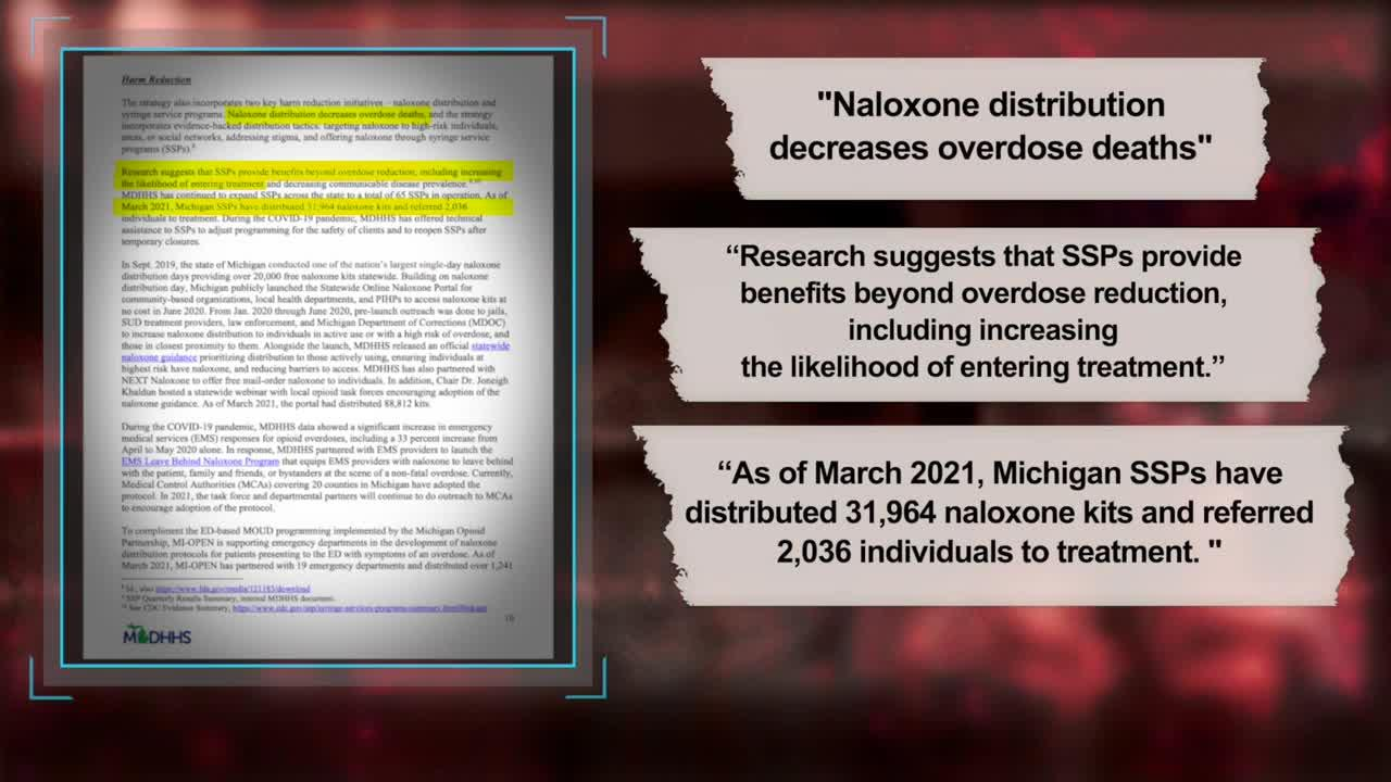 Michigan Department of Health and Human Services's 2020 Opioid Task Force Report says that naloxone distribution decreases overd