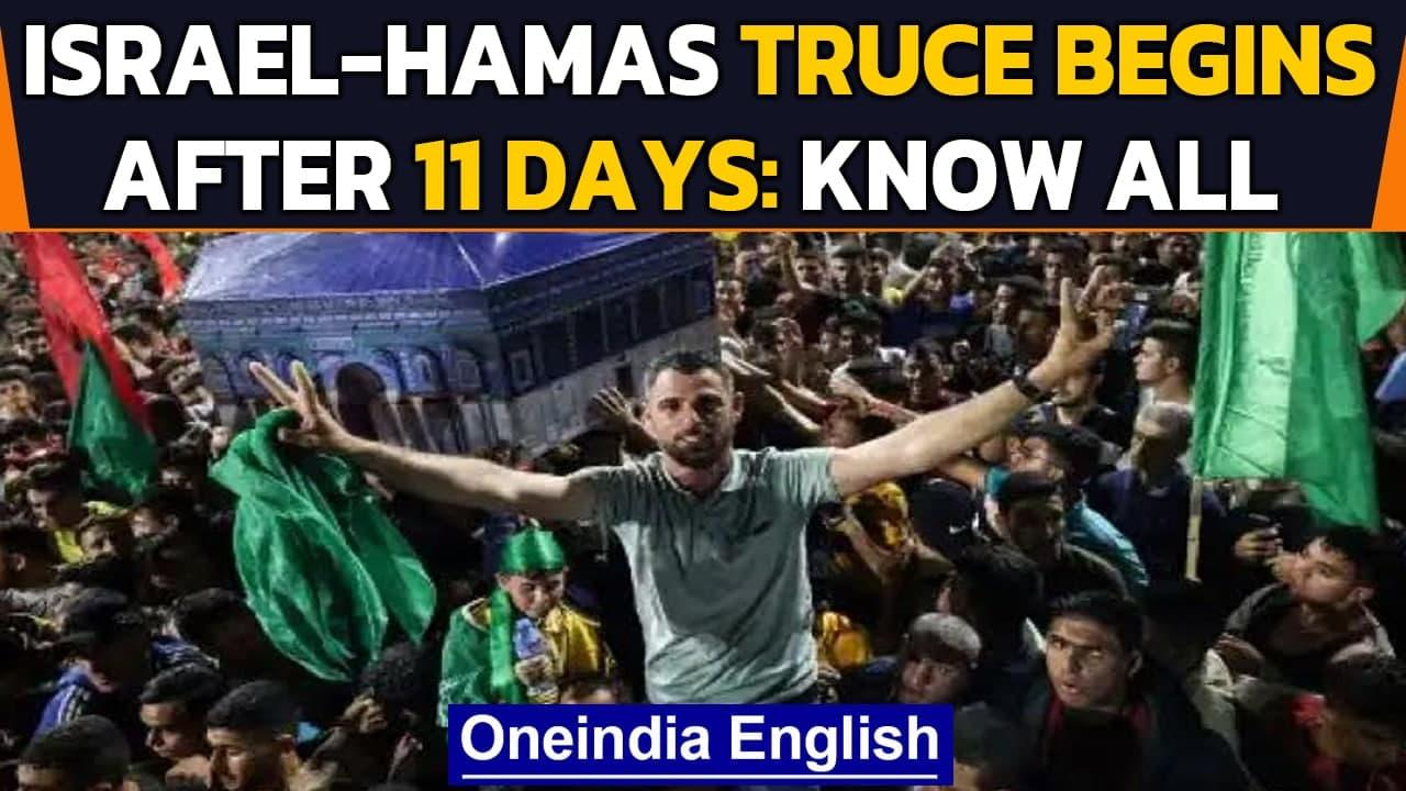 Israel-Palestine: Celebrations in Gaza as truce announced after 11 days  Hamas   Oneindia News