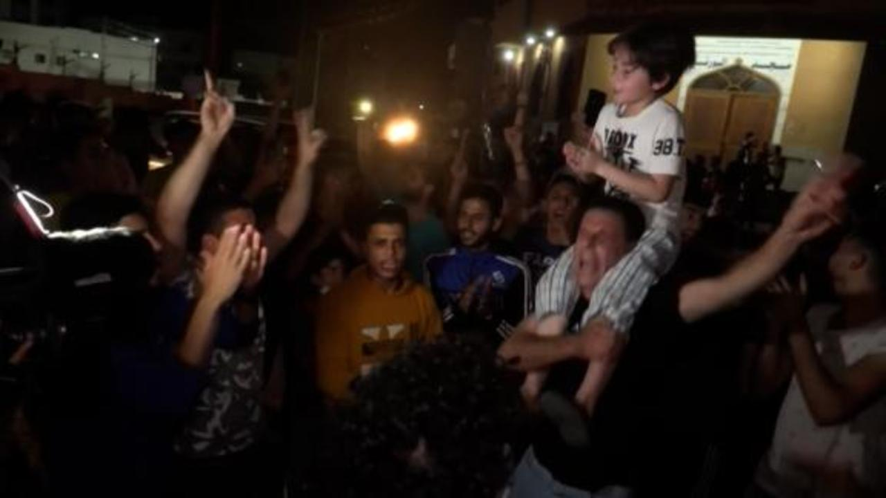 Watch celebrations in Gaza as Israel-Hamas ceasefire takes effect