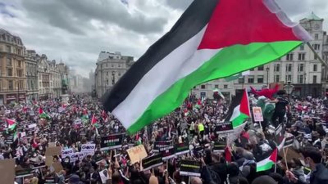 Pro-Palestinian demonstrators march in London
