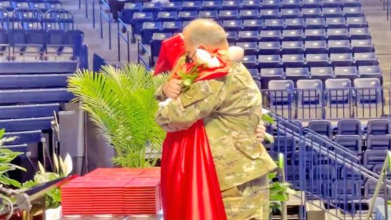 Air Force dad surprises daughter at high school graduation