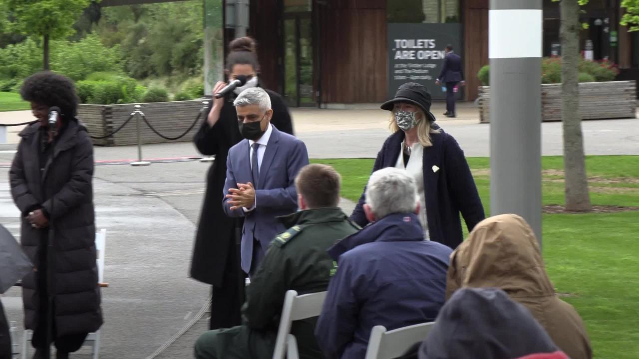 Mayor of London opens coronavirus memorial in east London