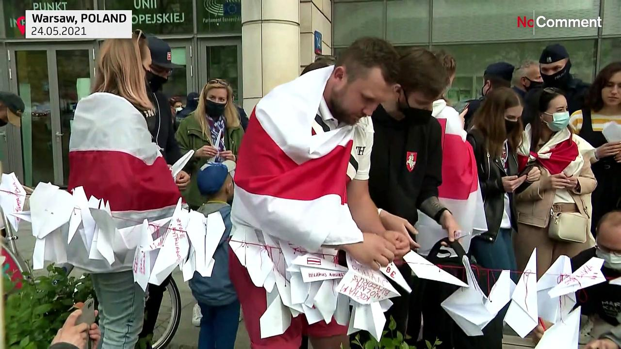 Demonstration in support of Belarusian opposition in front of European Commission's Warsaw office