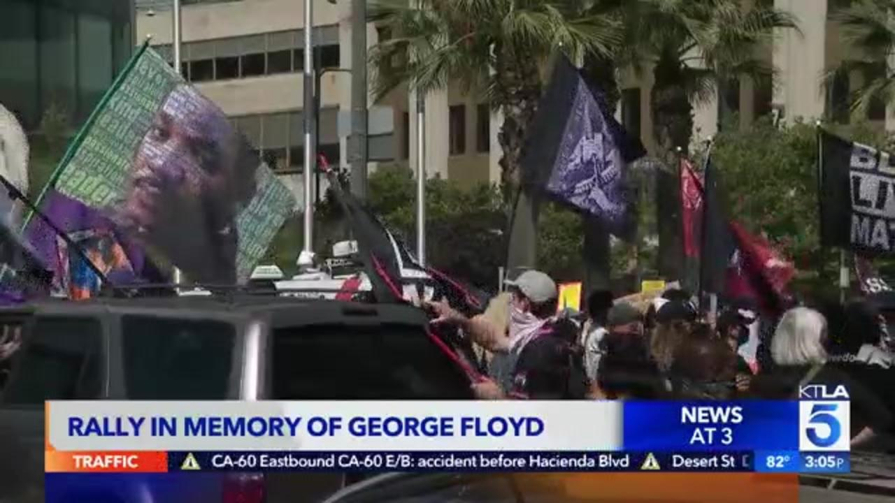 Demonstrators gather in downtown L.A. to mark one year since George Floyd's in-custody death