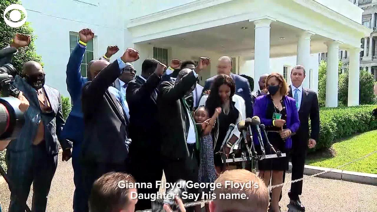 WEB EXTRA: Gianna Floyd Leads Chant of Dad George Floyd's Name at White House