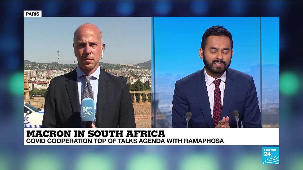 Macron in South Africa for talks on Covid-19 vaccine