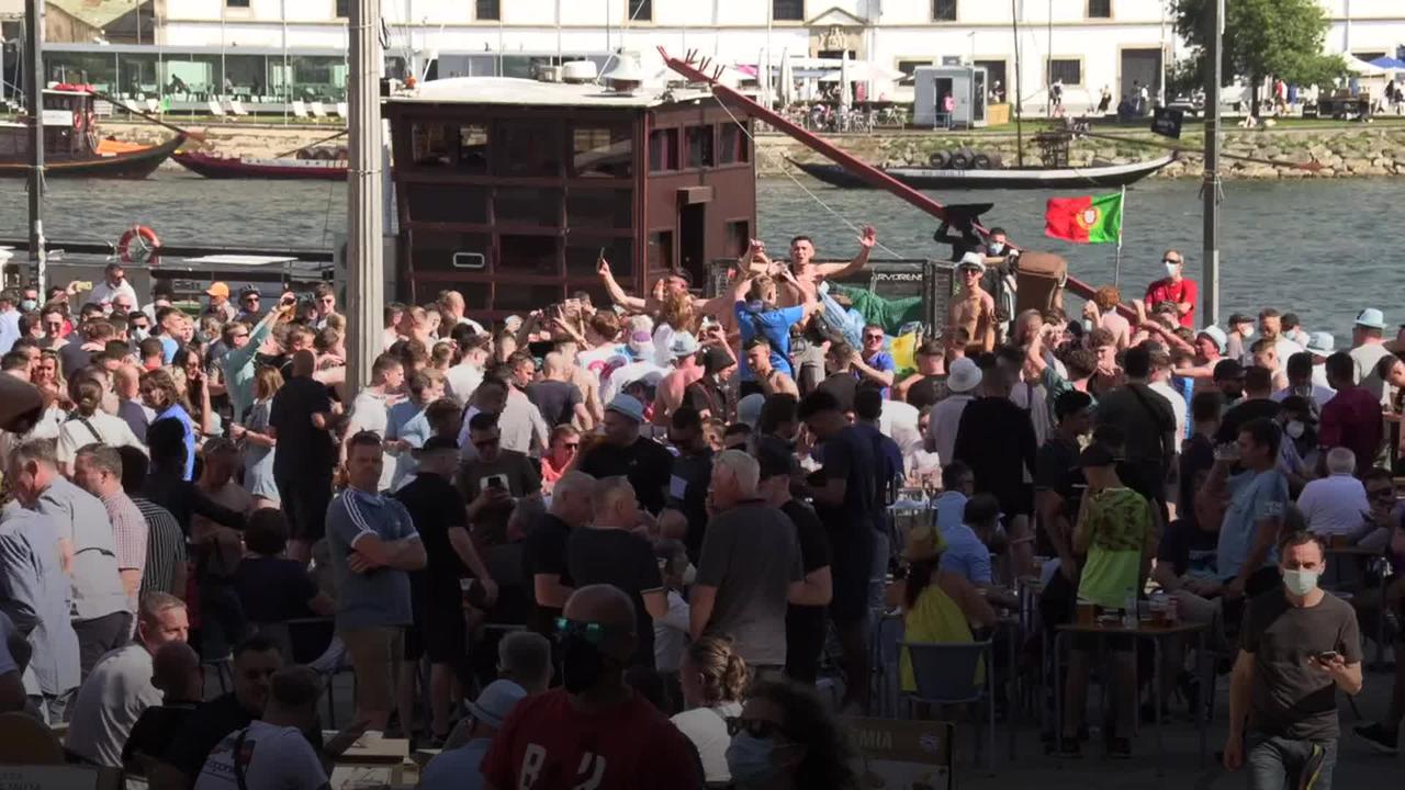 Football fans enjoy the sun in Porto ahead of Champions League final