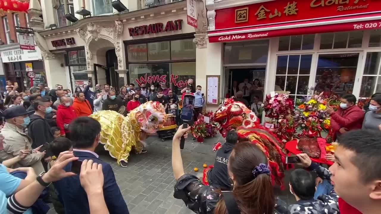 Dancing dragons return to London's Chinatown after one and a half years since coronavirus outbreak