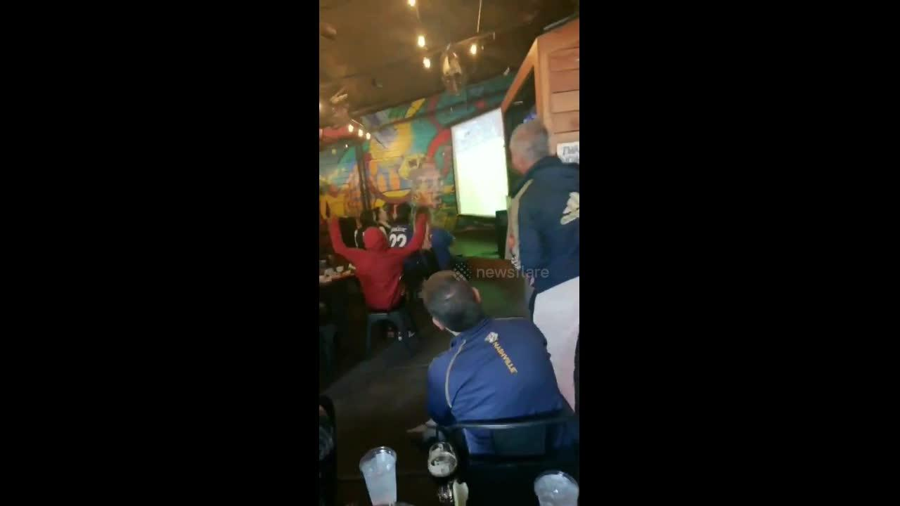 Chelsea Fans Celebrate Winning The Champions League Against Manchester City in Crowded Pub